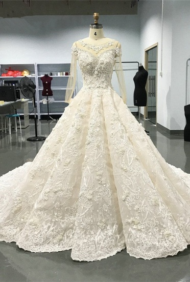 Elegant Jewel Longsleeves White Wedding Dresses With Appliques A-line Ruffles Lace Bridal Gowns On Sale_1