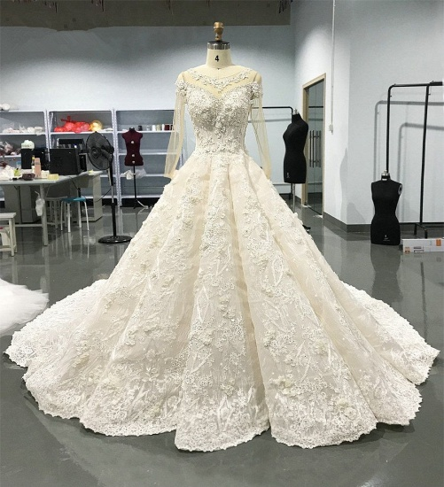 Elegant Jewel Longsleeves White Wedding Dresses With Appliques A-line Ruffles Lace Bridal Gowns On Sale_3