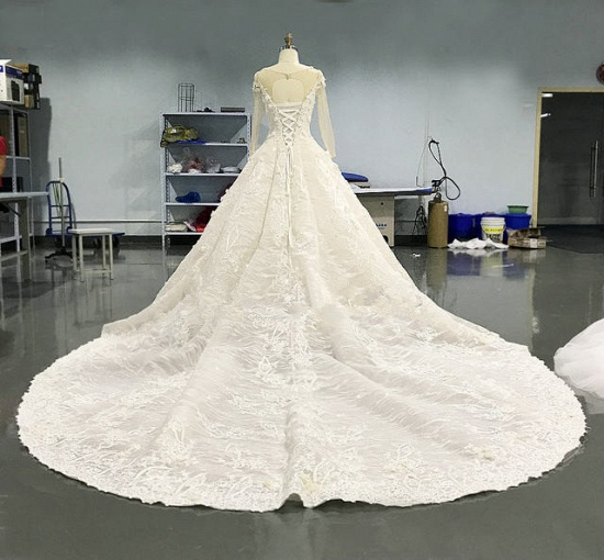 Elegant Jewel Longsleeves White Wedding Dresses With Appliques A-line Ruffles Lace Bridal Gowns On Sale_2