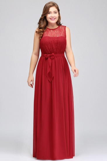 Plus Size Jewel Sleeveless Red Lace Long Bridesmaid Dress with Ruffle_4