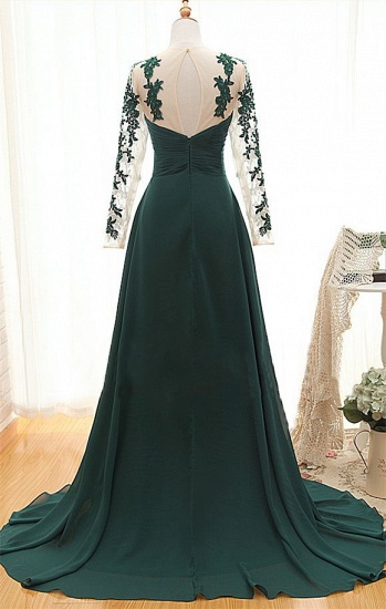 BMbridal Elegant Long Sleeve Green Evening Gowns Chiffon Lace Prom Dresses_4