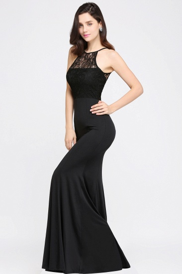 Affordable Mermaid Keyhole Black Lace Bridesmaid Dress Online_4