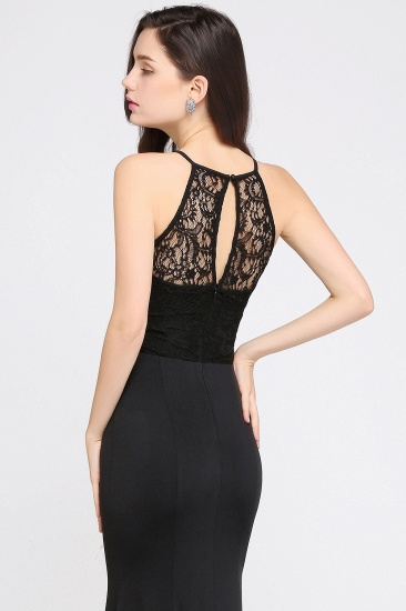 Affordable Mermaid Keyhole Black Lace Bridesmaid Dress Online_6