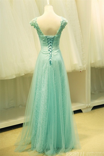Chic Mint Lace Prom Dress V-Neck Tulle Long Evening Gowns_5