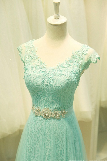Chic Mint Lace Prom Dress V-Neck Tulle Long Evening Gowns_7