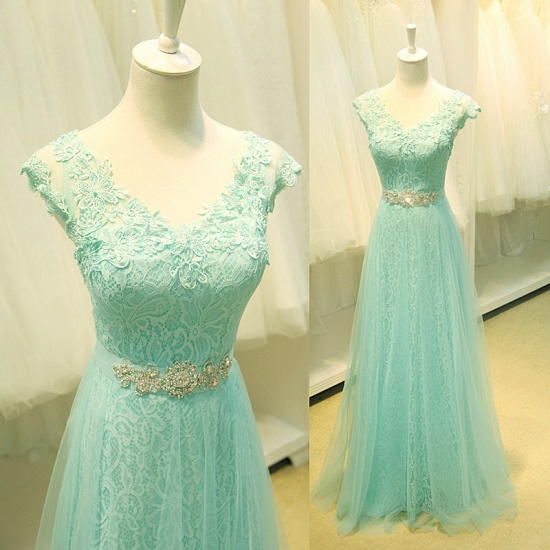 Chic Mint Lace Prom Dress V-Neck Tulle Long Evening Gowns_4