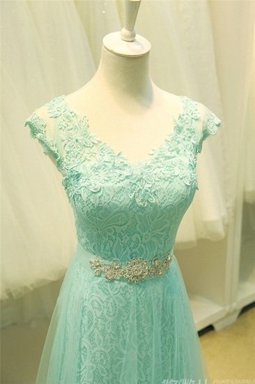 Chic Mint Lace Prom Dress V-Neck Tulle Long Evening Gowns_8