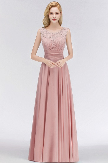 Elegant Lace Sleeveless Chiffon Long Bridesmaid Dress