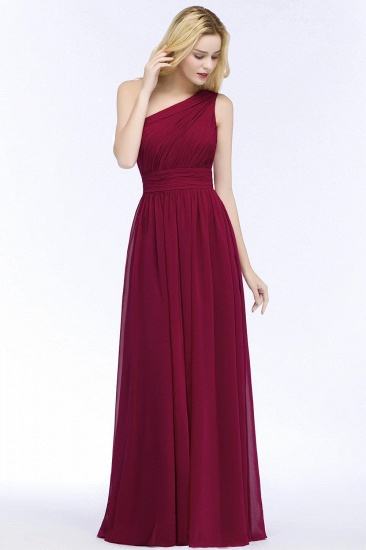 Chic One-shoulder Sleeveless Burgundy Chiffon Bridesmaid Dresses Online_1