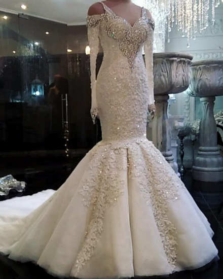 Unique Straps Longsleeves Mermaid Wedding Dresses White Sequins Lace Bridal Gowns With Appliques Online_1