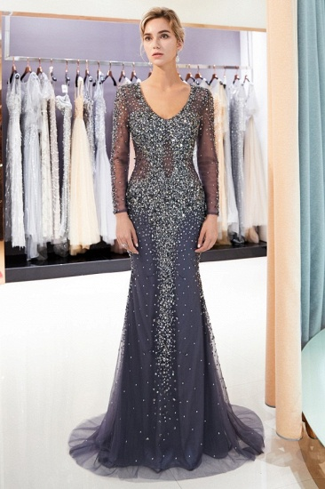 Afordable Mermaid V-Neck Long Sleeves Prom Dresses Sparkly Beading Evening Dresses On Sale_2