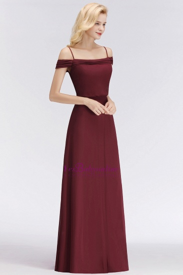Elegant Off-the-Shoulder Burgundy Bridesmaid Dress Online Spaghetti-Straps Cheap Maid of Honor Dress_6
