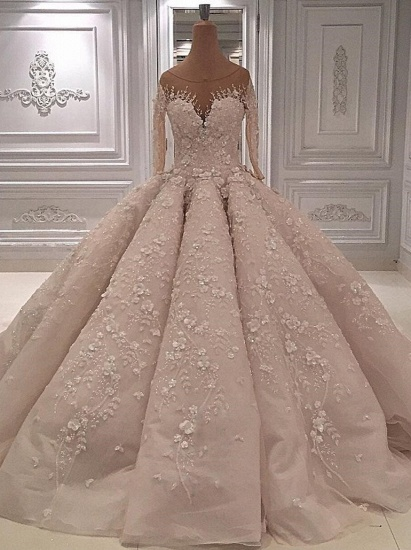 BMbridal Chic Jewel Longsleeves A-line Wedding Dresses With Appliques Ivory Tulle Ruffles Bridal Gowns On Sale_1