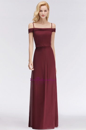 Elegant Off-the-Shoulder Burgundy Bridesmaid Dress Online Spaghetti-Straps Cheap Maid of Honor Dress_5
