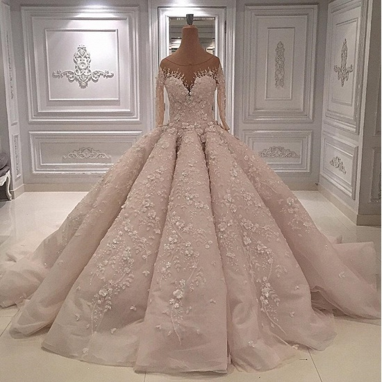 BMbridal Chic Jewel Longsleeves A-line Wedding Dresses With Appliques Ivory Tulle Ruffles Bridal Gowns On Sale_2