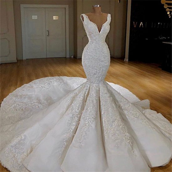 Elegant Straps Sleeveless White Wedding Dresses Mermaid Satin Bridal Gowns With Appliques Online_3