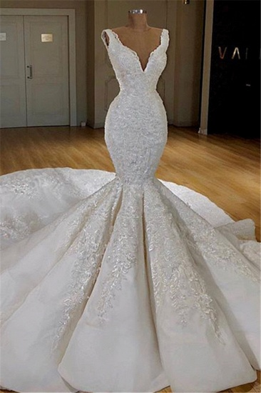 Elegant Straps Sleeveless White Wedding Dresses Mermaid Satin Bridal Gowns With Appliques Online_1