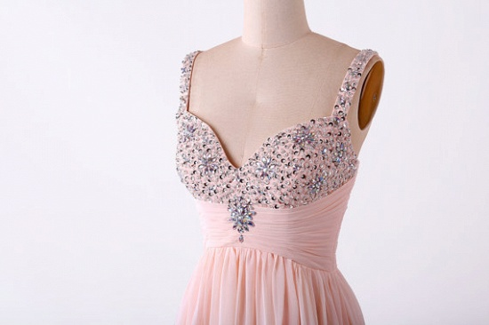 BMbridal Gorgeous Pink Sweetheart Prom Dress Long Chiffon Evening Gowns With Beads_4