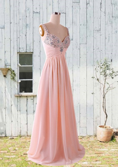 BMbridal Gorgeous Pink Sweetheart Prom Dress Long Chiffon Evening Gowns With Beads_1