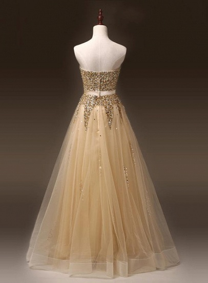 BMbridal Gold Sweetheart Sequins Prom Dress Long Tulle Evening Gowns_4