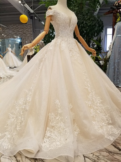 BMbridal Elegant Off-the-shoulder White A-line Wedding Dresses Tulle Ruffles Bridal Gowns With Appliques Online_4