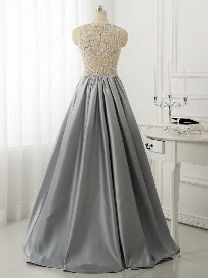 BMbridal Gorgeous Silver Beads Long Prom Dress A-Line Evening Party Gowns_4