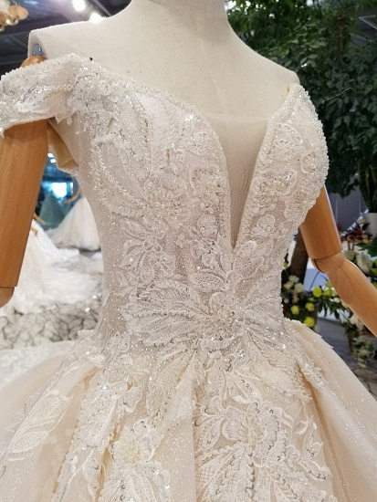 Elegant Off-the-shoulder White A-line Wedding Dresses Tulle Ruffles Bridal Gowns With Appliques Online_6