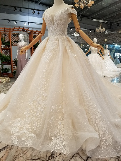 BMbridal Elegant Off-the-shoulder White A-line Wedding Dresses Tulle Ruffles Bridal Gowns With Appliques Online_7