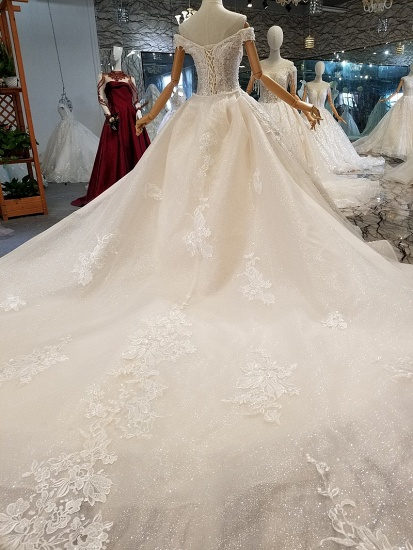 Elegant Off-the-shoulder White A-line Wedding Dresses Tulle Ruffles Bridal Gowns With Appliques Online_3
