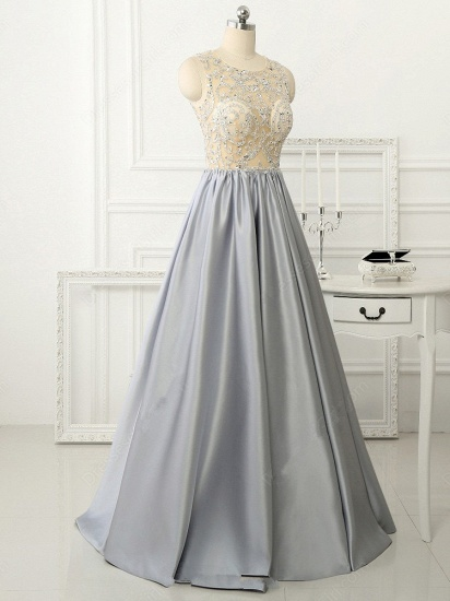 BMbridal Gorgeous Silver Beads Long Prom Dress A-Line Evening Party Gowns_5