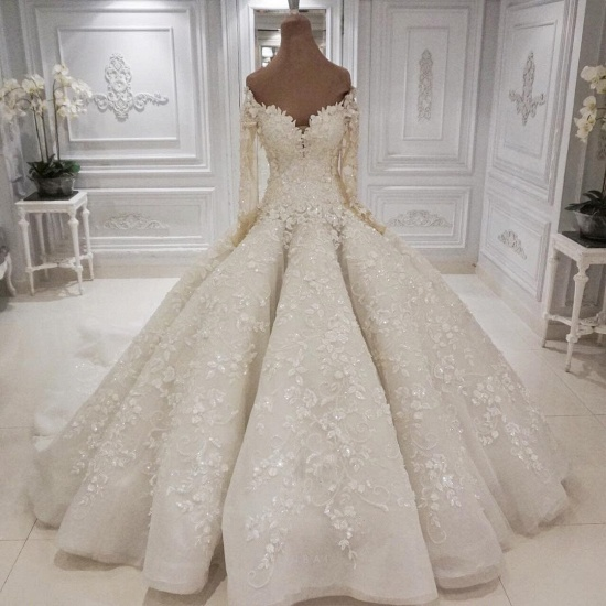 BMbridal Gorgeous Longsleeves White Lace Wedding Dresses A-line Tulle Bridal Gowns With Appliques Online_3