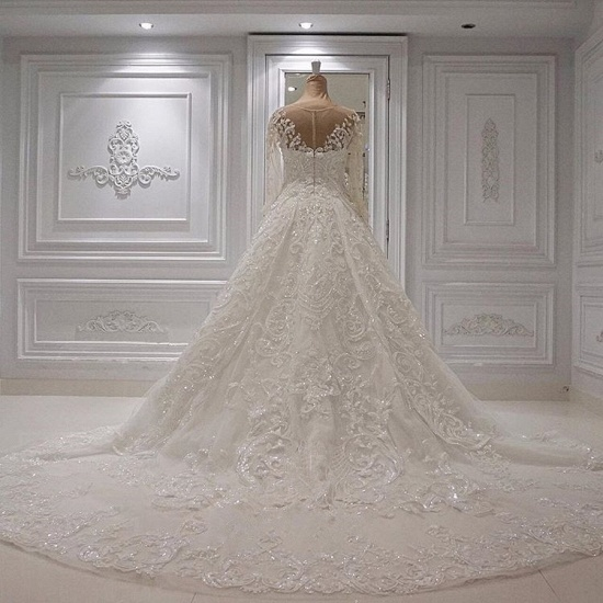 Chic  A-line Jewel Longsleeves Wedding Dresses With Appliques Ivory Tulle Ruffles Bridal Gowns On Sale_4