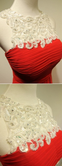 Elegant Red Lace Chiffon Prom Dress Long Sleeveless Evening Gowns Online_6