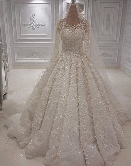 Chic  A-line Jewel Longsleeves Wedding Dresses With Appliques Ivory Tulle Ruffles Bridal Gowns On Sale_2