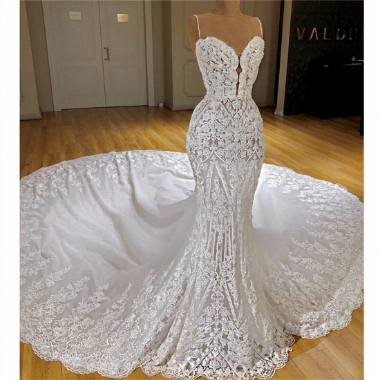 Glamorous Mermaid White Lace Wedding Dresses With Appliques Spaghetti Straps  Bridal Gowns Online_3