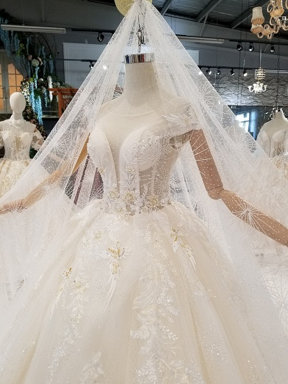 BMbridal Affordable Off-the-shoulder Jewel Lace Wedding Dresses With Appliques White A-line Ruffles Bridal Gowns On Sale_3