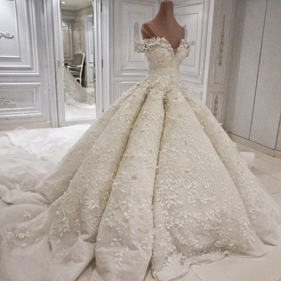 Sexy V-neck Off-the-shoulder White Wedding Dresses With Appliques A-line Ruffles Bridal Gowns On Sale_3