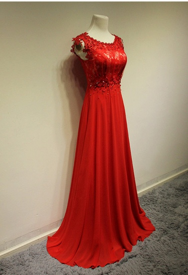 Red Lace Appliques Long Prom Dress Chiffon Evening Gowns Online_1