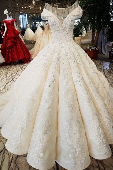 BMbridal Affordable Jewel Off-the-shoulder A-line Wedding Dresses With Appliques Ivory Ruffles Lace Bridal Gowns On Sale_1