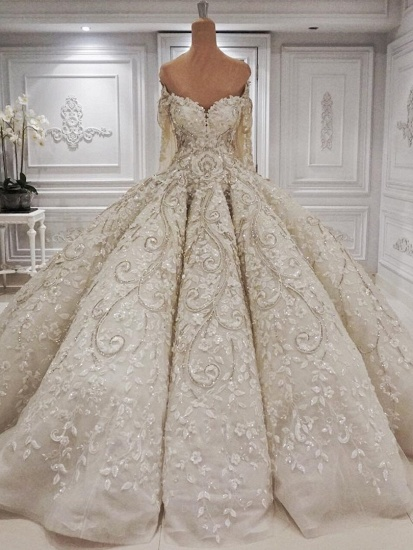 Elegant Longsleeves Sweetheart Ivory Wedding Dresses A-line Tulle Ruffles Bridal Gowns With Appliques Online_1