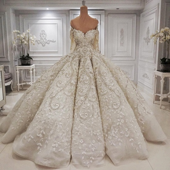 Elegant Longsleeves Sweetheart Ivory Wedding Dresses A-line Tulle Ruffles Bridal Gowns With Appliques Online_3