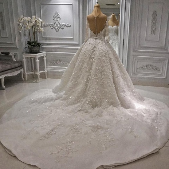 BMbridal Modest Longsleeves White A-line Wedding Dresses Tulle Ruffles Bridal Gowns With Appliques Online_2