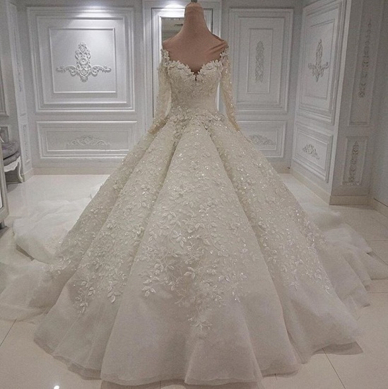 BMbridal Modest Longsleeves White A-line Wedding Dresses Tulle Ruffles Bridal Gowns With Appliques Online_3