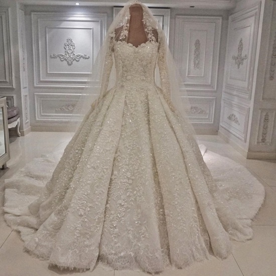 BMbridal Unique A-line Ruffles Lace Wedding Dresses With Appliques Longsleeves Ivory Bridal Gowns On Sale_3