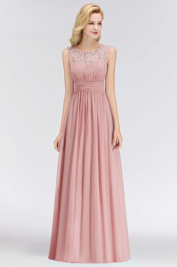 BMbridal Elegant Lace Scoop Bridesmaid Dress Dusty Rose Chiffon Sleeveless Wedding party Dress_1