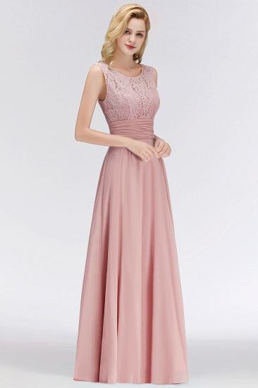 BMbridal Elegant Lace Jewel Sleeveless Dusty Rose Bridesmaid Dress Online_1