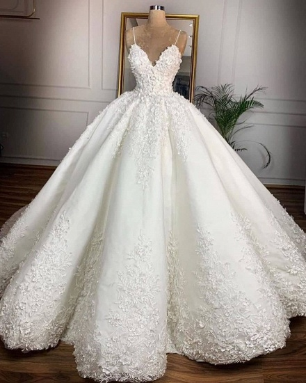 BMbridal Gorgeous Spaghetti Straps White A-line Wedding Dresses With Appliques Satin Ruffles Bridal Gowns Online_3