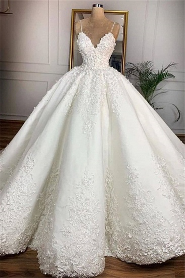 BMbridal Gorgeous Spaghetti Straps White A-line Wedding Dresses With Appliques Satin Ruffles Bridal Gowns Online_1