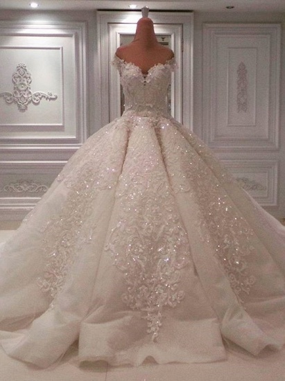 BMbridal Glamorous Off-the-shoulder White A-line Wedding Dresses Tulle Ruffles Lace Bridal Gowns With Appliques Online_1