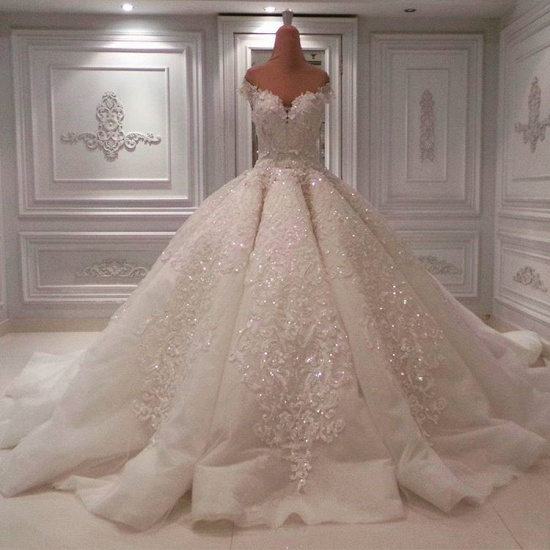 BMbridal Glamorous Off-the-shoulder White A-line Wedding Dresses Tulle Ruffles Lace Bridal Gowns With Appliques Online_4